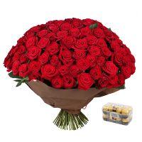 Bouquet 101 roses  + Candies Ferrero Rocher