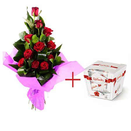 Bouquet 11 red roses + Raffaello