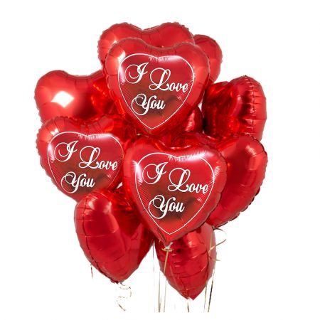Product 15 red heart balloons