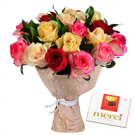 Bouquet Из разноцветных роз + Конфеты Merci