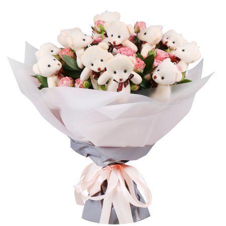 Bouquet with roses and teddies