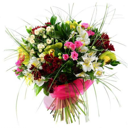 Classy bouquet of carnations, orchids and roses on ua-flowers.com