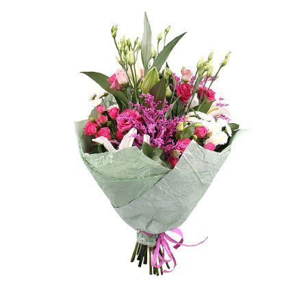 Bouquet Микс от флориста Тани из 11 цветков в бело розовых тонах