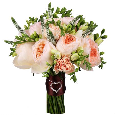 Order wedding bouquet 'Peach chic' in the online shop