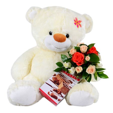 Best gift-sets on Sendflowers - teddy bear, flowers and cake - buy with worldwide delivery