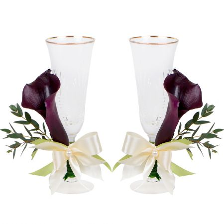 Bouquet Wedding glasses with calla lilies