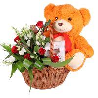 Bouquet Flower Basket with Teddy Bear